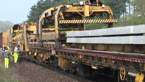 Méthode moderne pour changer les traverses de chemin de fer.