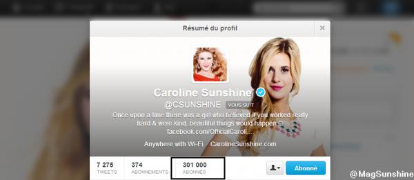 • Caroline Sunshine a enfin atteint les 300K sur Twitter!