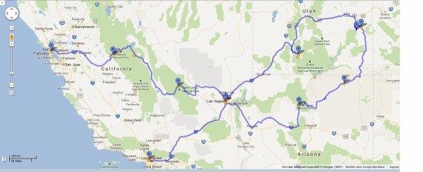 Prévision itinéraire voyage USA 2103