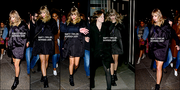 "○ Taylor quittant le "" Mastro's Steackhouse "" après l'After-party de SNL à New York. Le 11 / 11 /2017. J'aime bien sa tenue, elle est simple mais classe. Je lui donne un Top et Vous ?"