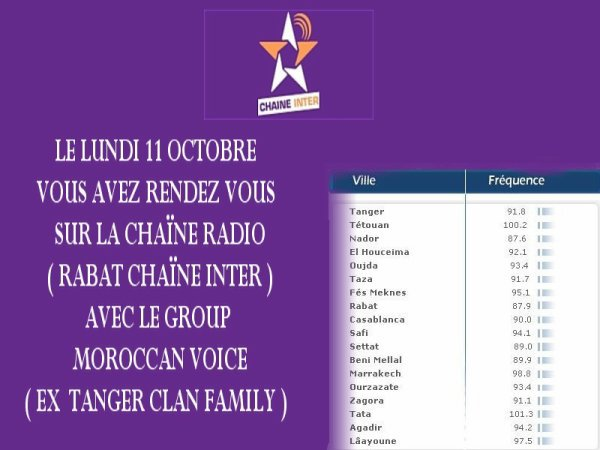 SOIREE SUR LA RADIO RABAT CHAINE INTER LE SAMEDI 11 OCTOBRE 2010