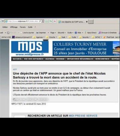 La mort de Nicolas Sarkozy annoncée sur internet par un site d'infos