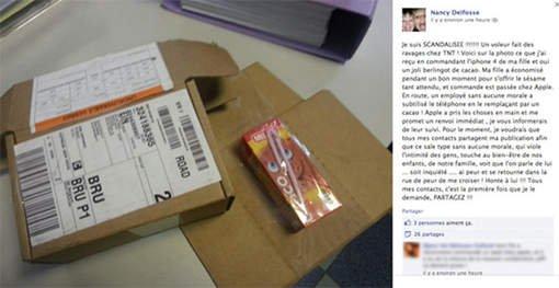 Elle reçoit une brique de Candy Up au lieu d'un iPhone