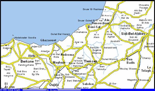 Carte géographique de Sidi Bel Abbes,Tlemcen,Ghazaouet ect