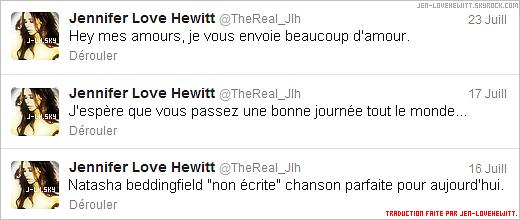 .. TWITTER .Quand Jennifer Love Hewitt ne sort pas, elle n'arrête sûrement pas s'est tweets !.