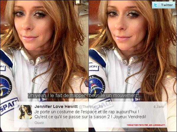 .04/01/13 : Comme elle nous l'avait annoncer sur Twitter, Jlove été sur le set de The Client List en déguisements. .