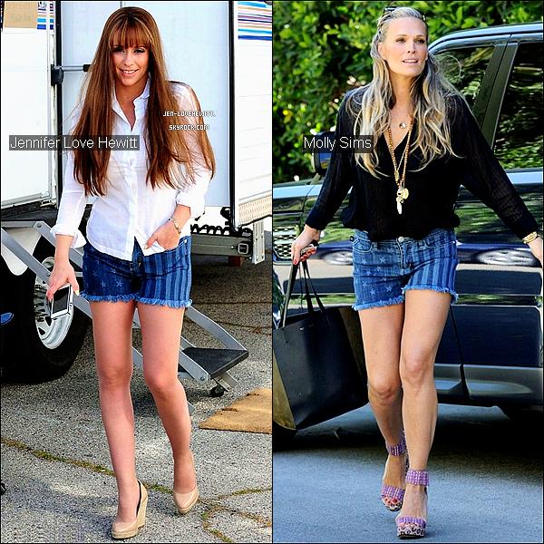 .Jlove Hewitt et Molly Sims : Qui a adopté la meilleure tenue avec le « American short » ?.