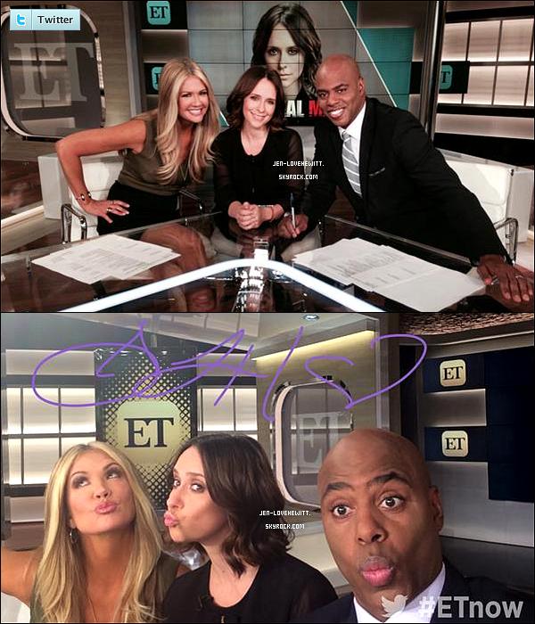 .01/10/14 : Jennifer s'est rendue sur « ET » et « The Talk » pour promouvoir Criminal Minds..