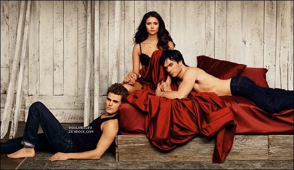 Nouveaux clichés du shoot de Paul aux côtés de Ian & Nina pour «Entertainment Weekly»