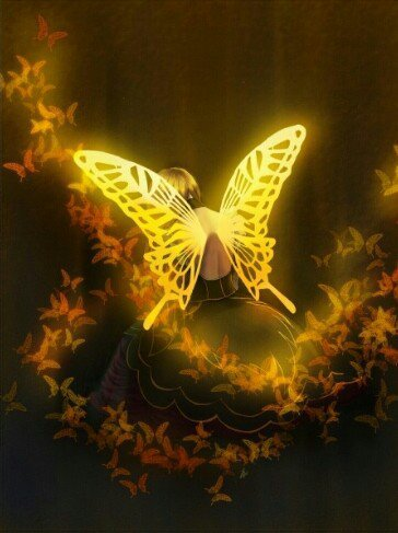 fille avc papillon