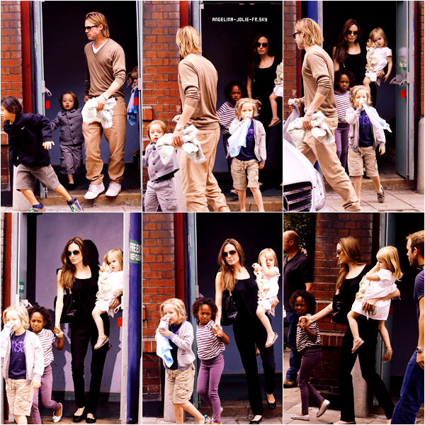 Angelina, pour une fois en blanc,  a emmené le 31 août, 4 de ses enfants dans le Pottery Café de Richmond à Londres.