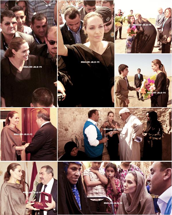 10/11 septembre - Jordanie Angelina Jolie est arrivée le 10 septembre, en Jordanie pour attirer l'attention sur la situation des réfugiés syriens et appeler la communauté internationale à leur venir en aide au plus vite.Elle s'est rendue à la frontière jordano-syrienne où elle a rencontré des familles nouvellement arrivées. Des bombardements étaient visibles et résonnaient de l'autre côté de la frontière. Le lendemain, 11 septembre, elle s'est rendue au camp de réfugiés de Za'atari, qui accueille environ 28 000 réfugiés syriens, où elle a discuté avec d'autres réfugiés. Elle a ensuite assisté à une conférence de presse durant laquelle, les larmes aux yeux, elle a confié quelques-unes des histoires horribles et déchirantes qui lui ont été racontées par ces survivants du régime de Bachar el-Assad.