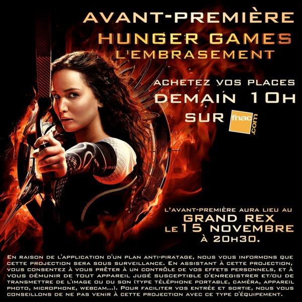 Achetez vos places pour l'avant première d'Hunger Games l'embrassement des demain !