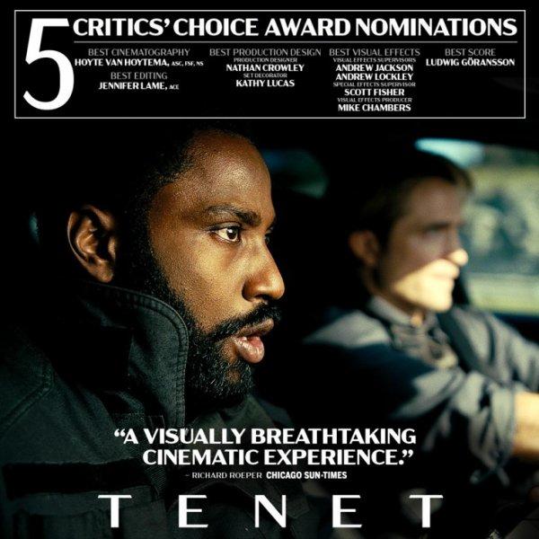 #Cinéma: Critics' Choice Award Tenet de Christopher Nolan nominé 5 fois.