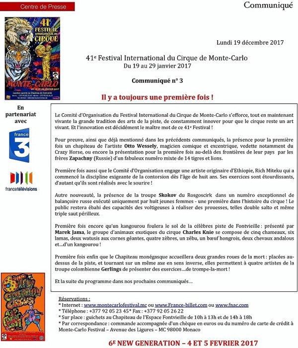 COMMUNIQUÉ DU FESTIVAL DU CIRQUE DE MONTE-CARLO