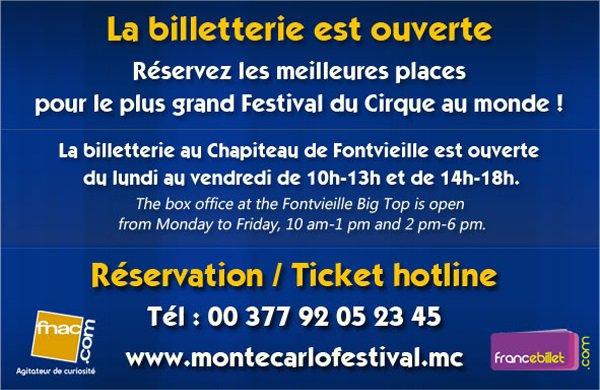 BILLETTERIE DU 42ème FESTIVAL DE MONTE-CARLO