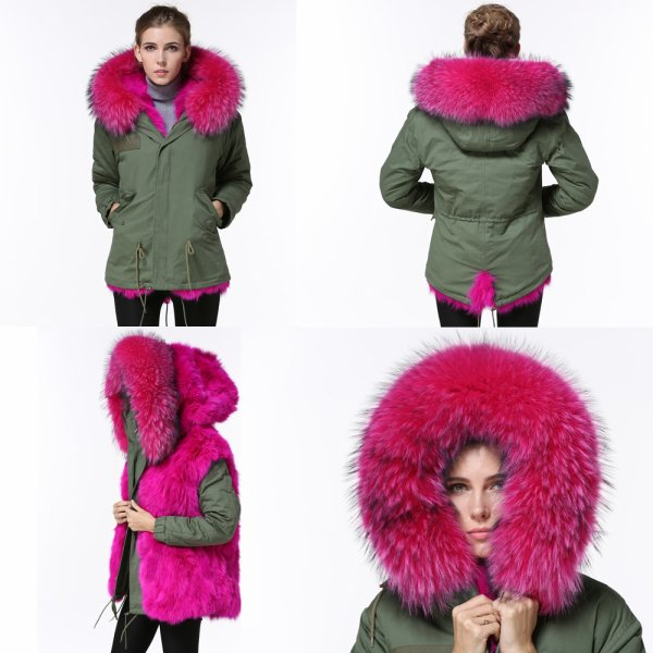246eb45b6f6db 2016 winter military design color mix outer shell hot pink- fuschia fox fur  lined women jacket