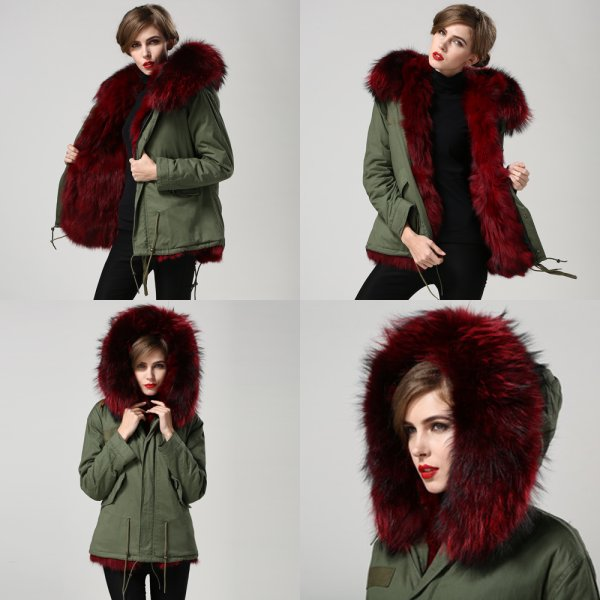 2016 winter military design color mix outer shell hot pink- fuschia fox fur lined women jacket