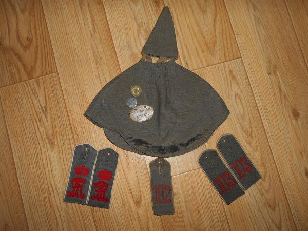 couvre casque officier , et pattes d'épaules saxonne LGR100 , 102R et 103R