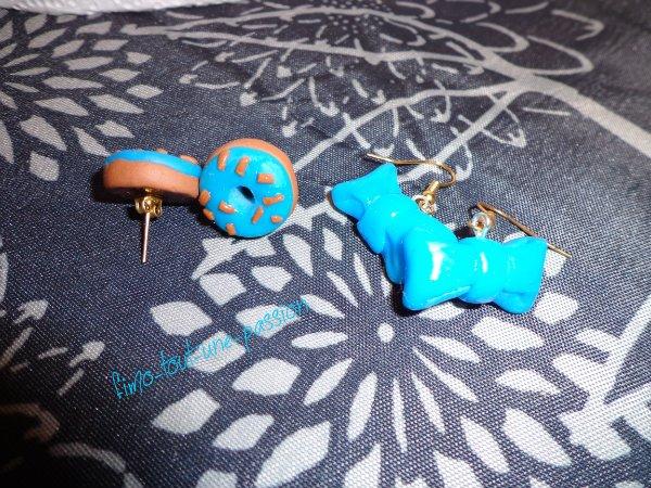boucles d'oreilles thème le bleu