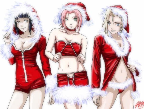 Trois Ninja féminin en mére Noël