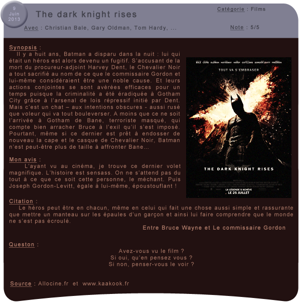 #3 - The dark knight rises