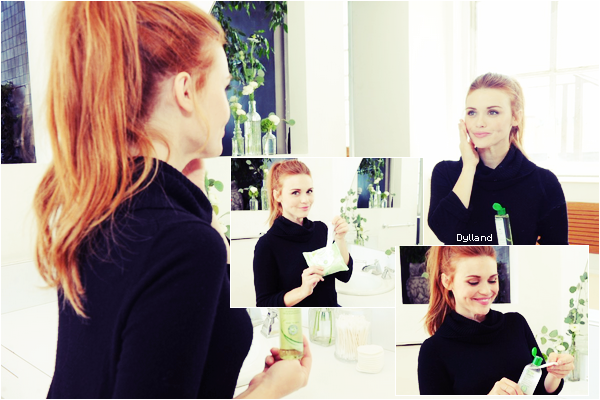 Les premières photos d'Holland pour la campagne des produits de beauté « Simple Skin Care » dont Holland est l'égérie.