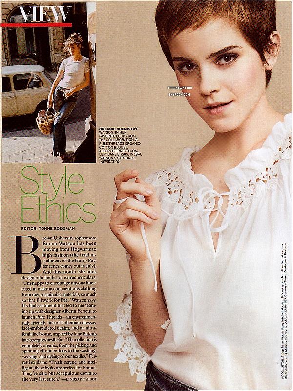 . Le numéro de Mars de « Vogue US » parlera de la ligne de vêtements de Alberta Ferretti conçus avec Emma. .