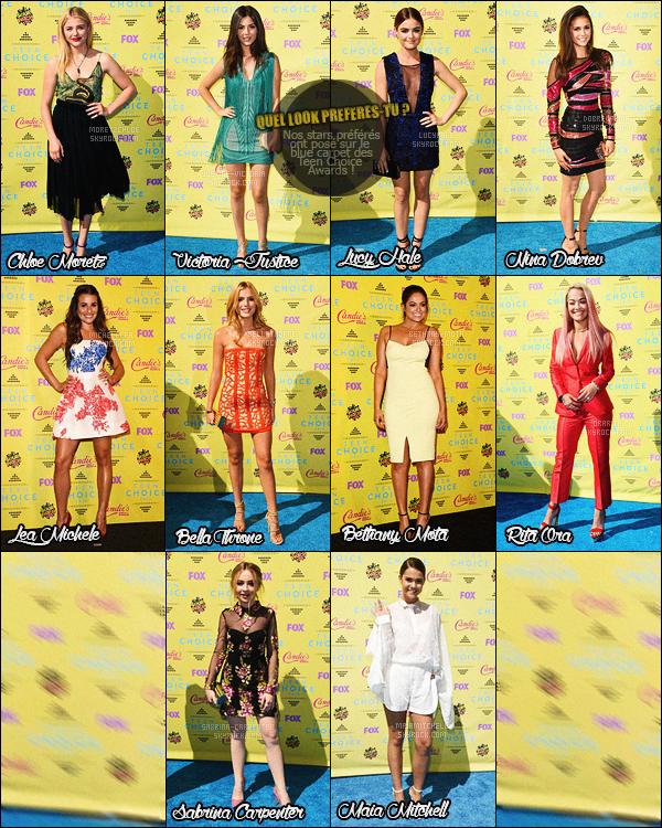 Teen Choice Awards ou la brochette de stars toutes plus classes les unes que les autres.       Le 16 Août 2015 a eu lieu la 17ème cérémonie des Teen Choice Awards. Cette cérémonie a été instaurée en 1999 dans le but de remettre des récompenses dans le domaine de la musique, de la danse, de la télévision, du sport, du cinéma et autres en se basant sur leur popularité auprès des adolescents, qui sont les seuls votants. Certaines célébrités sont présentes car nominées et espèrent gagner. D'autres sont là pour soutenir leurs co-stars. Comme une bonne partie de la gente féminine était présente, nous avons décidé de vous préparer un petit article dans lequel vous pourrez désigner la célébrité ayant porté la meilleure tenue. Article en collaboration avec MoretzChloe, Dobrev-Nina, MicheleLea, BellaThorne, Justice-Victoria, LucyHale, Sabrina-Carpenter et OraRita et MaiaMitchelle. Merci de créditer en cas d'empreint.