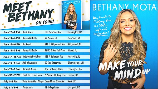 . Voici enfin les dates de la tournée de Bethany pour ●MAKE YOUR MIND UP ● Le livre sortira le 13 juin 2017, mais il est dès à présent disponible en pré-vente.  (+) J'avais déjà fais un article sur le livre, allez voirici!  .