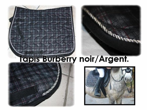tapis noir burberry liser argent vendre ventes quines. Black Bedroom Furniture Sets. Home Design Ideas