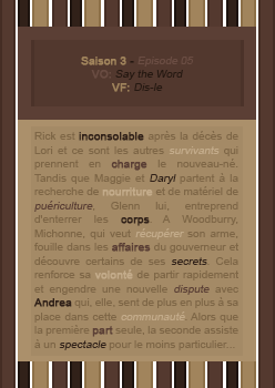 030: 3X05 - Say The Word • Création - Décoration