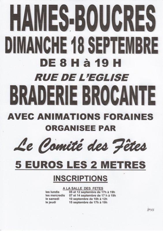 BRADERIE BROCANTE 18 SEPTEMBRE