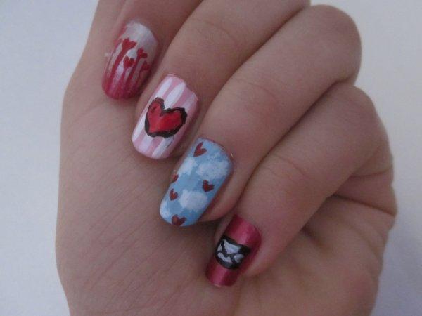 Nail art spécial St Valentin