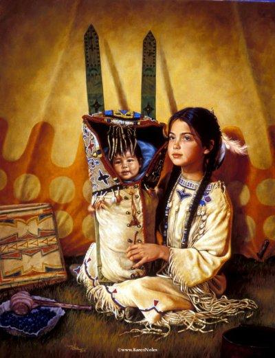 Habillement Amérindiens:  Iroquiens: La façon dont les Iroquiens s'habillent ressemble beaucoup à celles des Algonquiens, c'est à dire qu'ils portent des peaux d'animaux sauvages. Quelques fois, ils portent des souliers faits de feuilles de mais. Ces soulliers n'ont pas de talon. Le vetement que porte la femme est la jupe et les hommes un broyet.