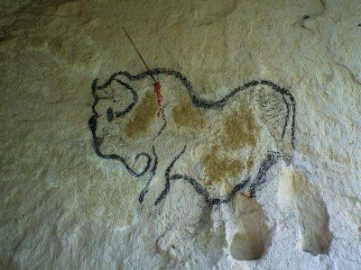 Dessin fait comme à l'époque à base de: trait de contour: Charbon;   peinture: à la base faut y faire la pate: ajouter des oeufs, farine et terre sableuse de couleur rouge ou jaunatre puis balancer ça sur le mur