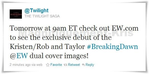 """-  Ce soir à 19h , le magazine EW postera sur son site la couverture des deux prochains numéro sur Breaking Dawn, ainsi qu'une galerie d'image sur BD !   Voilà ce qu'annonce la page officielle de BD ce matin : """"le magazine US """"Entertainment Weekly"""" publiera en exclu 7 nouvelles photos du film dans son numéro de cette semaine qui sort demain!!""""People Magazine"""" fera de même avec 5 nouvelles images!! impatients non? """" __lllll___l_______________lllllOn va être gâââter.. -"""