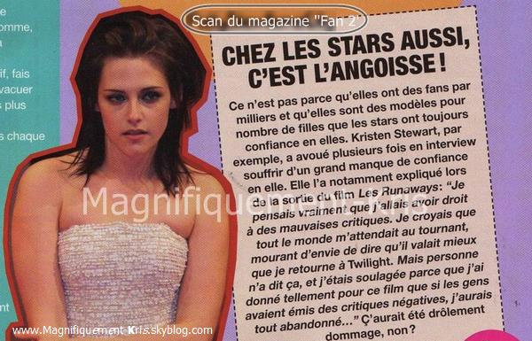 """Kris faisant quelques apparitions dans les magasines de filles français. A l'occurrence """"Fan2""""."""