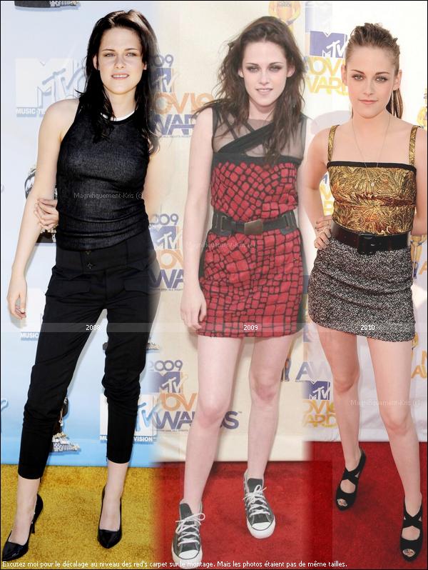 Stew au file du temps lors du rendez vous des MTV Movie Awards 2008 - 2009 ainsi que 2010.