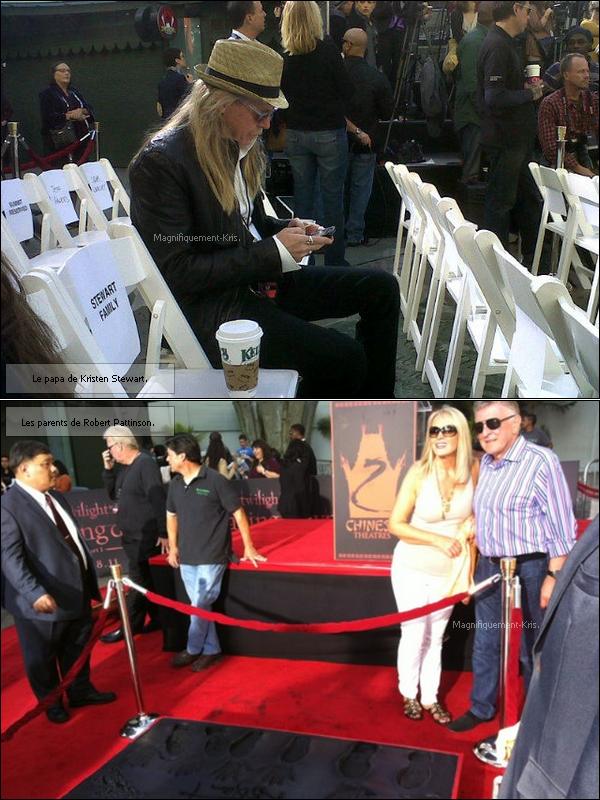 03.11.2011: Le trio était à la cérémonie « Grauman's Chinese Theater » à Los Angeles.  KStewart tellement émue et heureuse,  en est venue à verser quelques larmes... Cliquez ici pour revoir la cérémonie.