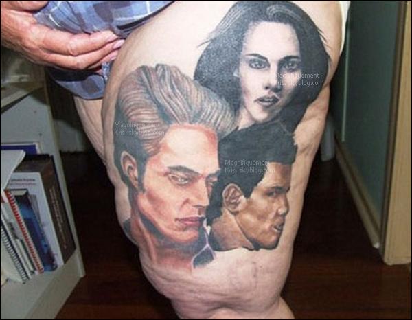 On vomit - Une américaine c'est faite tatouer la cuisse (oui ça y ressemble pas..) avec les portraits du Trio.