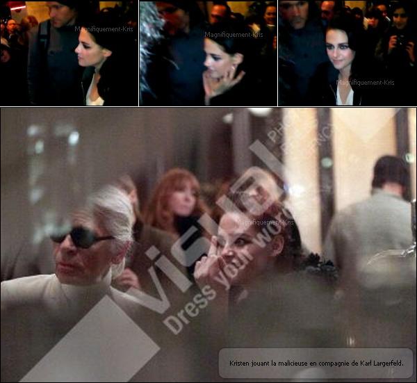 30.01.2012:Kristen dans une robe Dior réalisant un shoot pour Vanity Fair par Mario Testino dans Paris.
