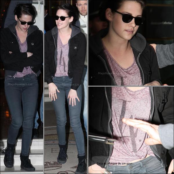 31.01.2012 : Kristen, réchauffée se rendant sur le set pour la suite de son shooting dans Paris.