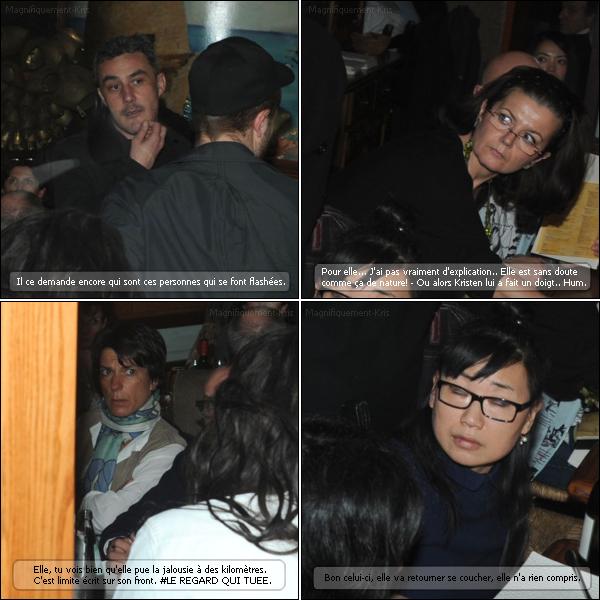 Description de l'arrivée de Robert Pattinson et Kristen Stewart au restaurant il y a deux jours. (Cf : Article du dessous.)