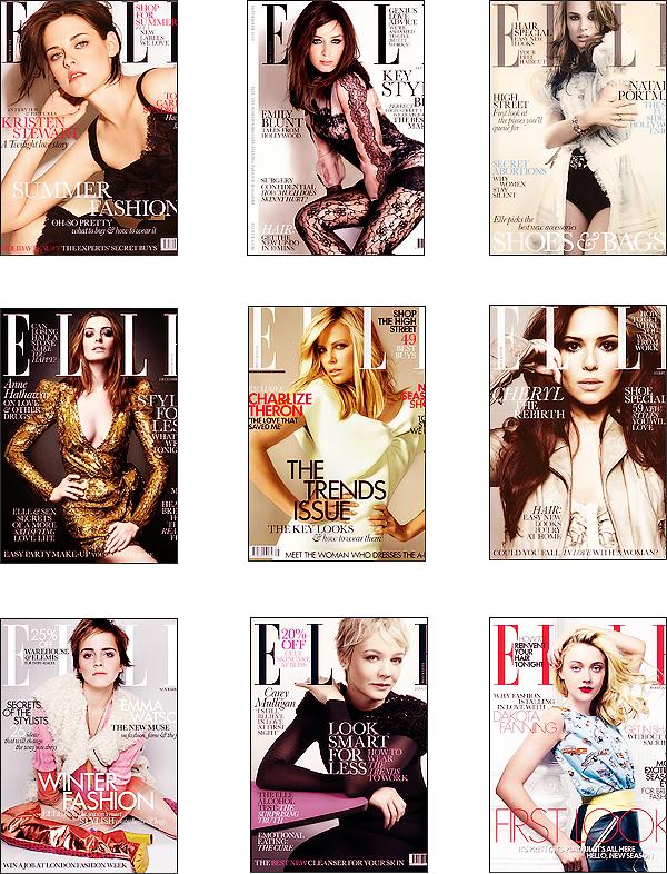 """Comparaisons célébrités.    Elles font toutes la couverture du magazine """"Elle"""" mais laquelle est la plus plaisante? Personnellement, n'y a que celle d'Emma Watson et Dakota Fanning qui me plaisent pas du tout. Pas assez sophistiqué! -.-"""