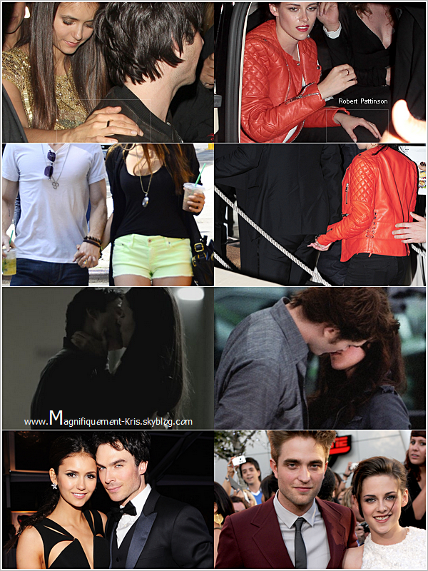 THE VAMPIRE DIARIES + TWILIGHT   2 couples formés sûr un tournage. Nina Dobrev-Ian Somerhalder // Kristen Stewart-Robert Pattinson.