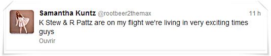 Info trafic|Robsten seraient en route pour renter à L A. d'après une passagère du vol.   08'05'2013