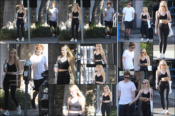 17/10/16 : Emma et Evan ont été aperçus quittant leur cours de sport, qui s'est déroulé dans West Hollywood. Ils se sont ensuite rendus dans un café afin de s'acheter des boissons et de quoi grignoter. Pas super après le sport, mais bon, mais bon.[/font=Arial]