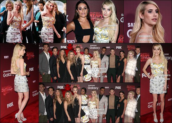 21/09/15 : Miss Emma était présente à la première de la série Scream Queens qui s'est déroulée à Los Angeles. Une bonne partie du cast était présente. Pour l'occasion, Emma portait une robe fleurie sur fond blanc, qui lui va extrêmement bien.[/font=Arial]