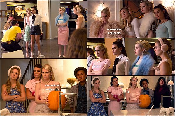 A présent, voici les stills du 1x04 de Scream Queens, intitulé « Haunted House ». L'épisode sera un spécial Halloween. J'ai hâte de voir ce qu'il va s'y passer. En tout cas, Em est vraiment trop belle sur les clichés.